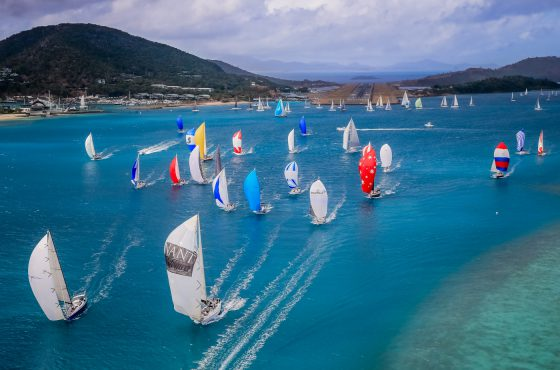 Areial view of the Cruising division start in Dent Passage, AHIRW 2015, Audi Hamilton Island Race Week. Picture Craig Greenhill